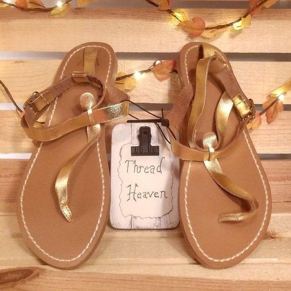 Zara Gold Gladiator Flat Sandals